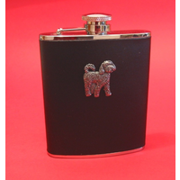 Cockapoo 6oz Black Leather Hip Flask Dog Gift