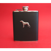 Greyhound Dog 6oz Black Leather Hip Flask