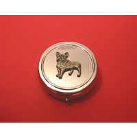 French Bulldog Pewter Motif On Round Chrome Mint / Pill Box