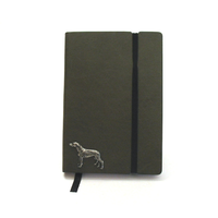 Greyhound A6 Olive Green Journal Notebook Dog Gift