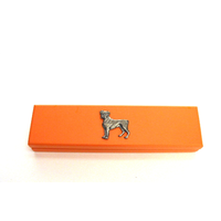 Boxer Dog Motif on Apricot Wooden Pen Box with 2 Pens