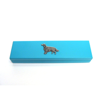 Irish Setter Motif on Turquoise Wooden Pen Box with 2 Pens