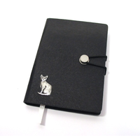 Short Haired Cat A6 Black Journal Notebook Cat Gift