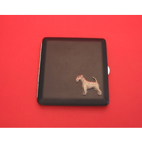 Airdale Terrier Motif on Black Faux Leather Cigarette Case