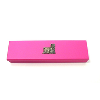 Yorkshire Terrier Motif on Pink Wooden Pen Box with 2 Pens