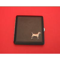 Patterdale Terrier Motif on Black Faux Leather Cigarette Case