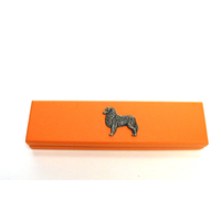 Australian Shepherd Dog on Apricot Wooden Pen Box with 2 Pen