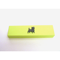Cairn Terrier Motif on Lime Wooden Pen Box with 2 Pens
