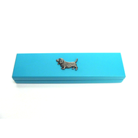 Basset Hound Motif on Turquoise Wooden Pen Box with 2 Pens