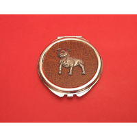 Staffordshire Bull Terrier on Brown Round Compact Mirror