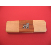 Cairn Terrier on Wooden Pen Box with 2 Pens