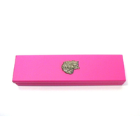 Long Haired Cat Motif on Pink Wooden Pen Box with 2 Pens
