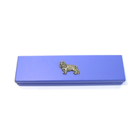 King Charles Spaniel on Violet Blue Wooden Pen Box with 2 Pens