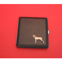 Weimaraner Motif on Black Faux Leather Cigarette Case