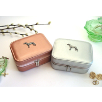 Greyhound Design Rose Gold or Silver Travel Jewellery Box Gift