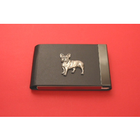 French Bulldog Pewter Motif on Black Card Holder Dog