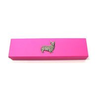 Corgi Dog Motif on Pink Wooden Pen Box with 2 Pens