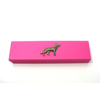 German Shepherd Motif on Pink Wooden Pen Box with 2 Pens