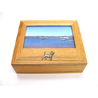 Beagle Motif Oak Jewellery Box with 6x4 Photo Frame Top
