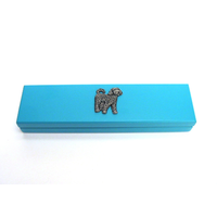 Cockapoo Motif on Turquoise Wooden Pen Box with 2 Pens