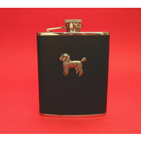 Poodle  6oz Black Leather Hip Flask Dog GIft