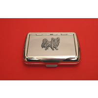 Papillon Dog Motif on Polished Stainless Steel Tobacco Tin