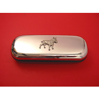 English Bull Terrier Motif Chrome Glasses Case Useful Gift