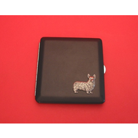 Corgi Dog Motif on Black Faux Leather Cigarette Case