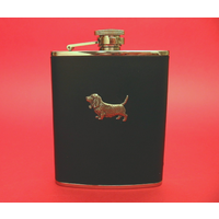 Basset Hound 6oz Black Leather Hip Flask Dog Gift