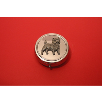 Cairn Terrier Pewter Motif On Round Chrome Mint / Pill Box