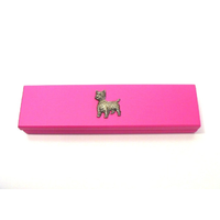 West Highland Terrier Motif on Pink Wooden Pen Box with 2 Pens