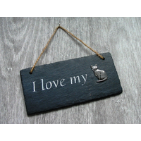 Short Haired Cat Design Slate Plaque Valentine Christmas Gift