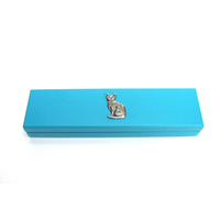 Short Haired Cat Motif on Turquoise Wooden Pen Box with 2 Pens