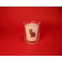 Short Haired Cat Motif On Glass Votive Candle Holder Xmas Gift