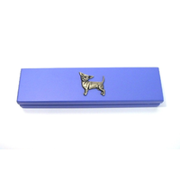 Chihuahua Dog Motif on Violet Blue Wooden Pen Box with 2 Pens