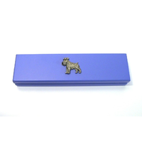 Miniature Schnauzer on Violet Blue Wooden Pen Box with 2 Pens