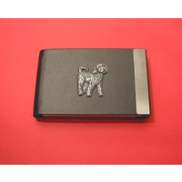 Cockapoo Dog Pewter Motif on Black Card Holder Dog
