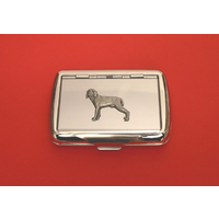 Weimaraner Motif on Polished Stainless Steel Tobacco Tin