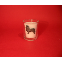 Australain Shepherd Motif On Glass Votive Candle Holder Gift