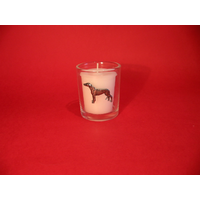 Greyhound Motif On Glass Votive Candle Holder Xmas Gift