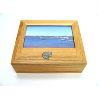 Long Haired Cat Motif Oak Jewellery Box With 6x4 Photo Frame Top