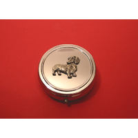 Dachshund Pewter Motif On Round Chrome Mint / Pill Box