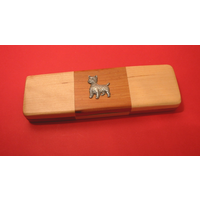 West Highland Terrier on Wooden Pen Box with 2 Pens