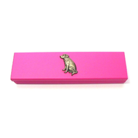 Labrador Retriever Motif on Pink Wooden Pen Box with 2 Pens
