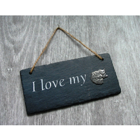 Long Haired Cat Design Slate Plaque Valentine Christmas Gift