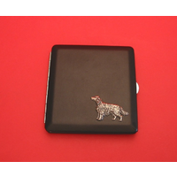 Irish Setter Motif on Black Faux Leather Cigarette Case