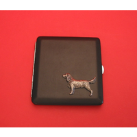 Springer Spaniel Motif on Black Faux Leather Cigarette Case