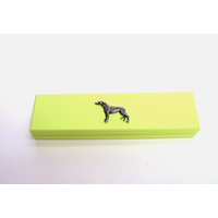 Grey Hound Motif on Lime Wooden Pen Box with 2 Pens
