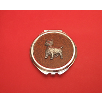 West Highland Terrier on Brown Round Compact Mirror