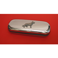 German Shepherd Motif Chrome Glasses Case Useful Dog Gift